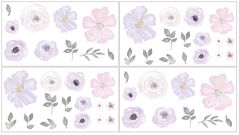 Purple and Grey Watercolor Floral Peel and Stick Wall Decal Stickers Art Nursery Decor by Sweet Jojo Designs - Set of 4 Sheets - Lavender, Pink, Gray and White Rose Flower