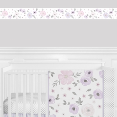 Lavender Purple, Pink, Grey and White Wallpaper Wall Border for Watercolor Floral Collection by Sweet Jojo Designs - Rose Flower