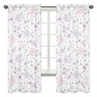 Lavender Purple, Pink, Grey and White Window Treatment Panels Curtains for Watercolor Floral Collection by Sweet Jojo Designs - Set of 2 - Rose Flower
