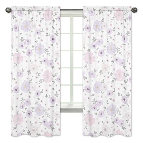 Lavender Purple, Pink, Grey and White Window Treatment Panels Curtains for Watercolor Floral Collection by Sweet Jojo Designs - Set of 2 - Rose Flower - Click to enlarge