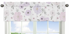 Lavender Purple, Pink, Grey and White Window Treatment Valance for Watercolor Floral Collection by Sweet Jojo Designs - Rose Flower