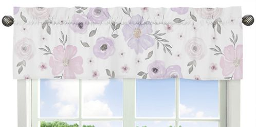 Lavender Purple, Pink, Grey and White Window Treatment Valance for Watercolor Floral Collection by Sweet Jojo Designs - Rose Flower - Click to enlarge