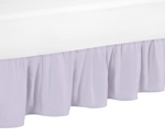 Lavender Purple Ruffled Toddler Bed Skirt Dust Ruffle for Watercolor Floral Collection by Sweet Jojo Designs
