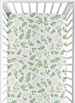 Leaf Boy Girl Jersey Stretch Knit Baby Fitted Crib Sheet for Soft Toddler Bed Nursery by Sweet Jojo Designs - Green White Boho Watercolor Botanical Floral Flower Woodland Tropical Garden