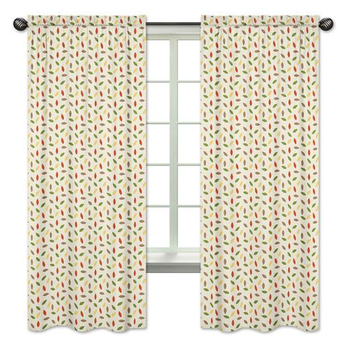 Leaf Print Window Treatment Panels for Forest Friends Collection by Sweet Jojo Designs - Set of 2 - Click to enlarge