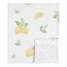Lemon Floral Baby Girl Blanket Receiving Security Swaddle for Newborn or Toddler Nursery Car Seat Stroller Soft Minky by Sweet Jojo Designs - Yellow Green Beige White Watercolor Boho Bohemian Farmhouse Fruit Flower Blossom Botanical Leaf