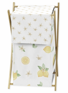 Lemon Floral Baby Kid Clothes Laundry Hamper by Sweet Jojo Designs - Yellow Green Beige White Watercolor Boho Bohemian Farmhouse Fruit Flower Blossom Botanical Leaf
