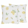 Lemon Floral Decorative Accent Throw Pillows by Sweet Jojo Designs - Set of 2 - Yellow Green Beige White Watercolor Boho Bohemian Farmhouse Fruit Flower Blossom Botanical Leaf