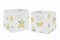 Lemon Floral Foldable Fabric Storage Cube Bins Boxes Organizer Toys Kids Baby Childrens by Sweet Jojo Designs - Set of 2 - Yellow Green Beige White Watercolor Boho Bohemian Farmhouse Fruit Flower Blossom Botanical Leaf