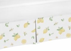 Lemon Floral Girl Baby Nursery Crib Bed Skirt Dust Ruffle by Sweet Jojo Designs - Yellow Green Beige White Watercolor Boho Bohemian Farmhouse Fruit Flower Blossom Botanical Leaf