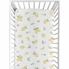 Lemon Floral Girl Fitted Crib Sheet Baby or Toddler Bed Nursery by Sweet Jojo Designs - Yellow Green Beige White Watercolor Boho Bohemian Farmhouse Fruit Flower Blossom Botanical Leaf