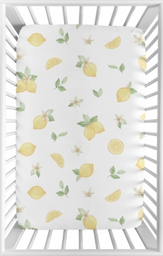 Lemon Floral Girl Fitted Mini Crib Sheet Baby Nursery by Sweet Jojo Designs For Portable Crib or Pack and Play - Yellow Green Beige White Watercolor Boho Bohemian Farmhouse Fruit Flower Blossom Botanical Leaf
