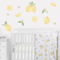 Lemon Floral Peel and Stick Wall Decal Stickers Art Nursery Decor by Sweet Jojo Designs - Set of 4 Sheets - Yellow Green Beige White Watercolor Boho Bohemian Farmhouse Fruit Flower Blossom Botanical Leaf