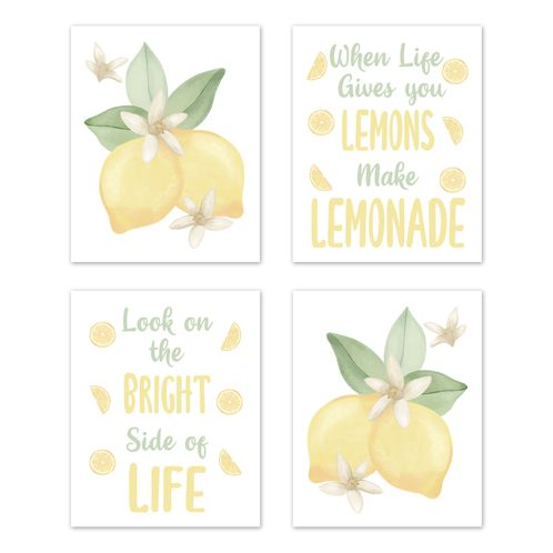 Lemon Floral Wall Art Prints Room Decor for Baby, Nursery, and Kids by Sweet Jojo Designs - Set of 4 - Yellow Green White Watercolor Boho Bohemian Farmhouse Fruit Flower Blossom Botanical Leaf - Click to enlarge