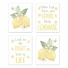 Lemon Floral Wall Art Prints Room Decor for Baby, Nursery, and Kids by Sweet Jojo Designs - Set of 4 - Yellow Green White Watercolor Boho Bohemian Farmhouse Fruit Flower Blossom Botanical Leaf