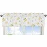 Lemon Floral Window Treatment Valance by Sweet Jojo Designs - Yellow Green Beige White Watercolor Boho Bohemian Farmhouse Fruit Flower Blossom Botanical Leaf