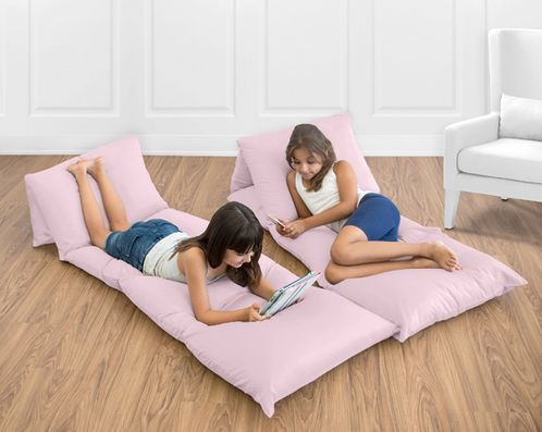Light Pink Kids Teen Floor Pillow Case Lounger Cushion Cover by Sweet Jojo Designs - Click to enlarge