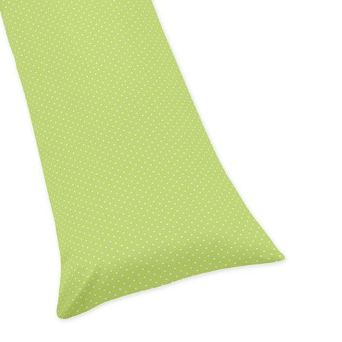 Lime and White Polka Dot Full Length Double Zippered Body Pillow Case Cover for Sweet Jojo Hooty Owl Sets - Click to enlarge