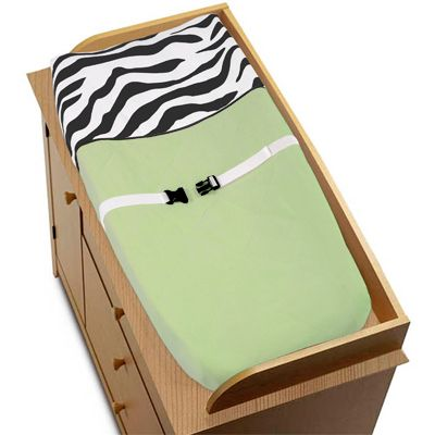 Lime Funky Zebra Changing Pad Cover by Sweet Jojo Designs - Click to enlarge