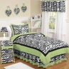 Lime Funky Zebra Childrens Bedding - 4 pc Twin Set