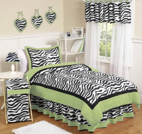 Lime Funky Zebra Teen Bedding - 3 pc Full / Queen Set - Click to enlarge