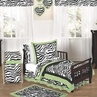 Lime Funky Zebra Toddler Bedding - 5pc Set