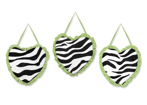 Lime Funky Zebra Wall Hanging Accessories by Sweet Jojo Designs - Click to enlarge