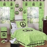 Lime Groovy Peace Sign Tie Dye Children's Bedding - 3 pc Full / Queen Set