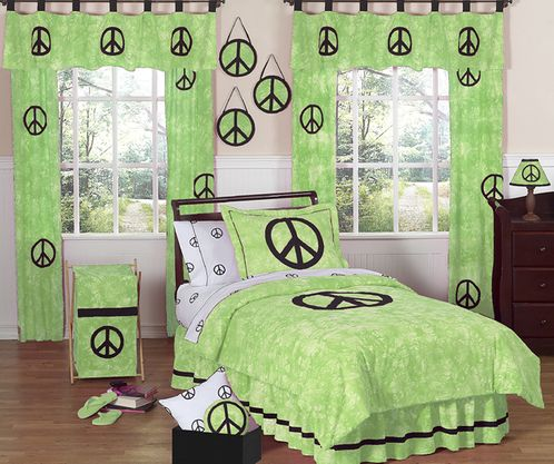 Lime Groovy Peace Sign Tie Dye Children's Bedding - 4 pc Twin Set - Click to enlarge