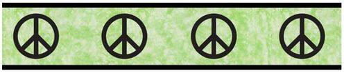 Lime Groovy Peace Sign Tie Dye Kids and Teens Wall Paper Border by Sweet Jojo Designs - Click to enlarge