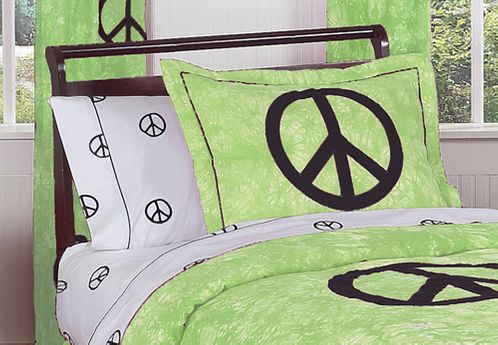Lime Groovy Peace Sign Tie Dye Pillow Sham - Click to enlarge