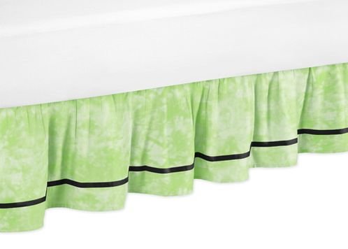Lime Groovy Peace Sign Tie Dye Queen Kids Children's Bed Skirt by Sweet Jojo Designs - Click to enlarge