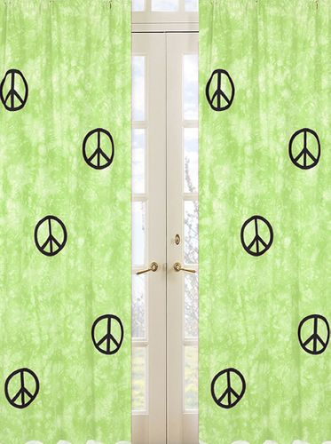 Lime Groovy Peace Sign Tie Dye Window Treatment Panels - Set of 2 - Click to enlarge