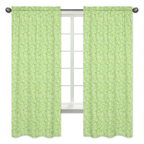 Lime Swirl Window Treatment Panels for Olivia Pink and Green Collection - Set of 2 - Click to enlarge