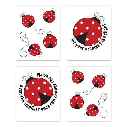 Little Ladybug Wall Art Prints Room Decor for Baby, Nursery, and Kids by Sweet Jojo Designs - Set of 4 - Red, Black and White Polka Dot - Click to enlarge