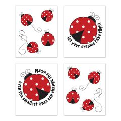 Little Ladybug Wall Art Prints Room Decor for Baby, Nursery, and Kids by Sweet Jojo Designs - Set of 4 - Red, Black and White Polka Dot