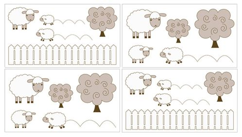 Little Lamb Baby and Kids Wall Decal Stickers by Sweet Jojo Designs - Set of 4 Sheets - Click to enlarge