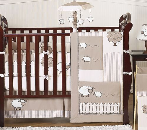 Little Lamb Baby Bedding - 9pc Crib Set by Sweet Jojo Designs - Click to enlarge