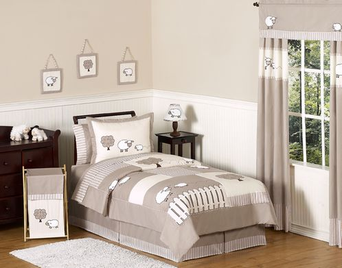 Little Lamb Childrens and Kids Bedding - 4pc Twin Set by Sweet Jojo Designs - Click to enlarge