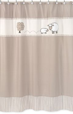 Little Lamb Kids Bathroom Fabric Bath Shower Curtain by Sweet Jojo Designs