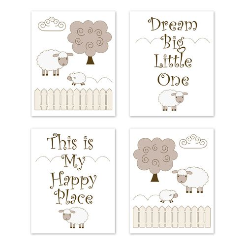 Little Lamb Wall Art Prints Room Decor for Baby, Nursery, and Kids by Sweet Jojo Designs - Set of 4 - Beige and White Farm Animal Sheep Gender Neutral - Click to enlarge