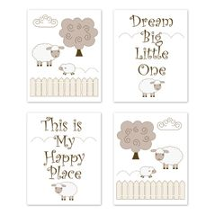 Little Lamb Wall Art Prints Room Decor for Baby, Nursery, and Kids by Sweet Jojo Designs - Set of 4 - Beige and White Farm Animal Sheep Gender Neutral