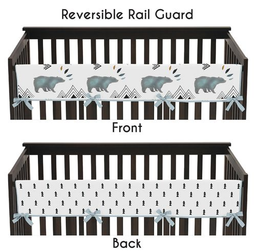 Long Front Crib Rail Guard Baby Teething Cover Protector Wrap for Bear Mountain Watercolor Collection by Sweet Jojo Designs - Click to enlarge