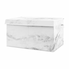 Marble Boy or Girl Small Fabric Toy Bin Storage Box Chest For Baby Nursery or Kids Room by Sweet Jojo Designs - Grey, Black and White Gender Neutral Abstract Chic