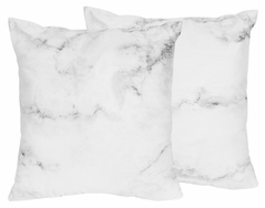 Marble Decorative Accent Throw Pillow Case Covers by Sweet Jojo Designs - Set of 2 (Inserts Not Included) - Grey, Black and White Gender Neutral