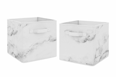 Marble Foldable Fabric Storage Cube Bins Boxes Organizer Toys Kids Baby Childrens by Sweet Jojo Designs - Set of 2 - Grey, Black and White Gender Neutral Abstract Chic