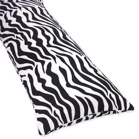 Microsuede Zebra Animal Print Full Length Double Zippered Body Pillow Cover - Click to enlarge