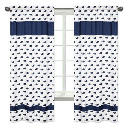 Mini Whale Print Window Treatment Panels for Blue Whale Collection - Set of 2 - Click to enlarge