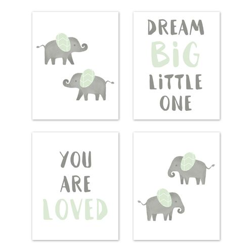 Mint And Grey Wall Art Prints Room Decor For Baby Nursery Kids Watercolor Elephant Safari Collection By Sweet Jojo Designs Set Of 4 Dream