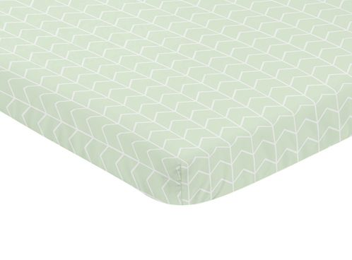 Mint and White Chevron Arrow Baby Fitted Mini Portable Crib Sheet for Watercolor Elephant Safari Collection by Sweet Jojo Designs - Click to enlarge